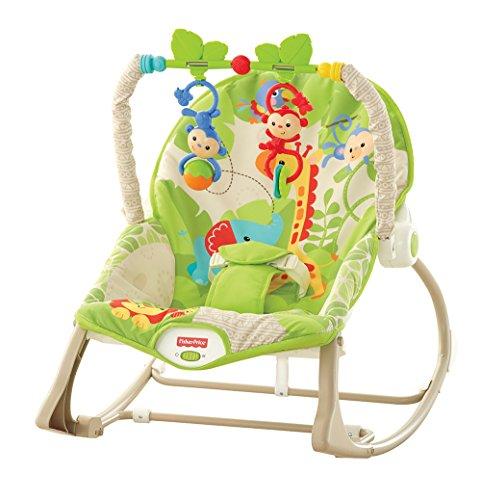 Fisher-Price - Hamaca crece conmigo, monitos divertidos, color verde (Mattel CBF52)